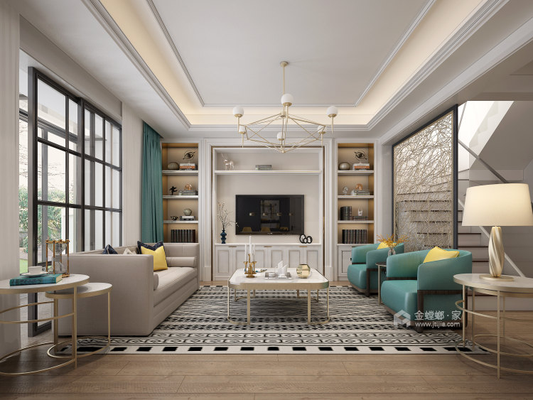 141平狮山原著简美风格-高级又耐看的简美轻奢-客厅效果图及设计说明