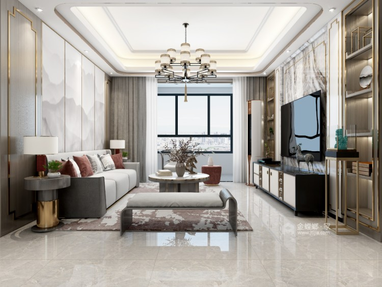 119平望海领御新中式风格-静.雅-客厅效果图及设计说明