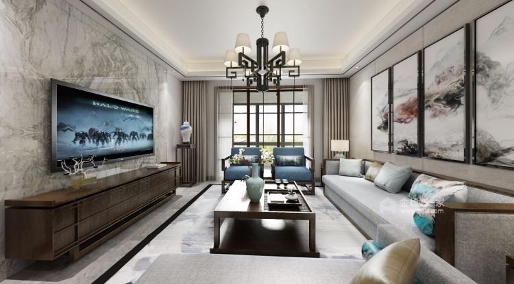 142平锦悦湾新中式风格-越简约 越贵气-客厅效果图及设计说明