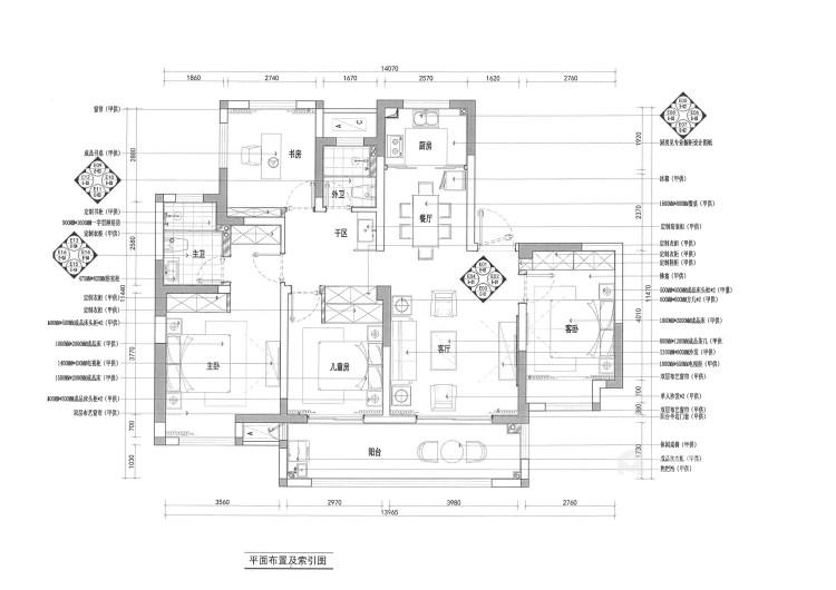 142平锦悦湾新中式风格-越简约 越贵气-平面设计图及设计说明
