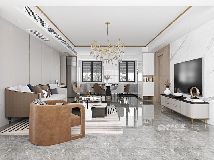 143平金悦府现代风格-衍素-客厅效果图及设计说明