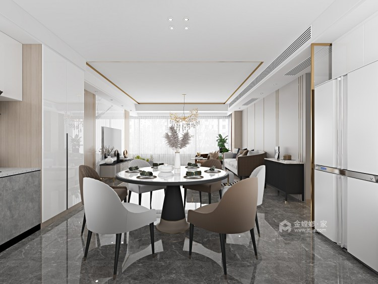 143平金悦府现代风格-衍素-餐厅效果图及设计说明