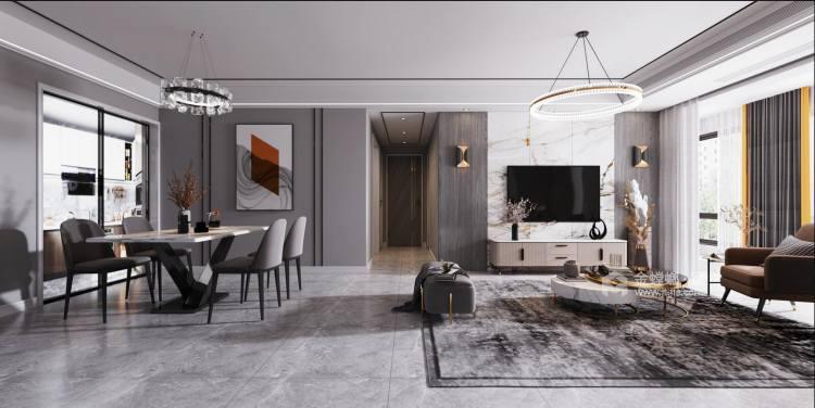 112平熙悦府现代风格-元素空间-客厅效果图及设计说明
