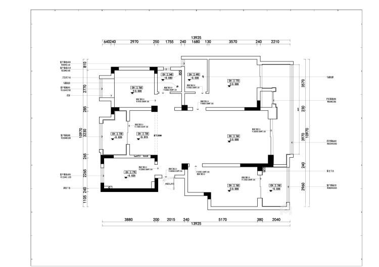 140平荷澜庭现代风格-刚刚好的精致现代风-业主需求&原始结构图