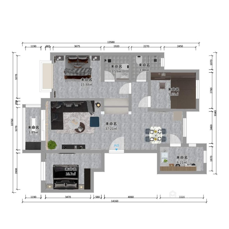 130平唐宫原著现代风格-灰度-平面设计图及设计说明