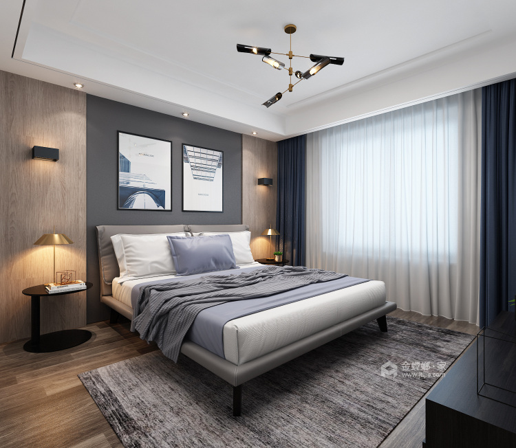 140平明贵园现代风格-卧室效果图及设计说明