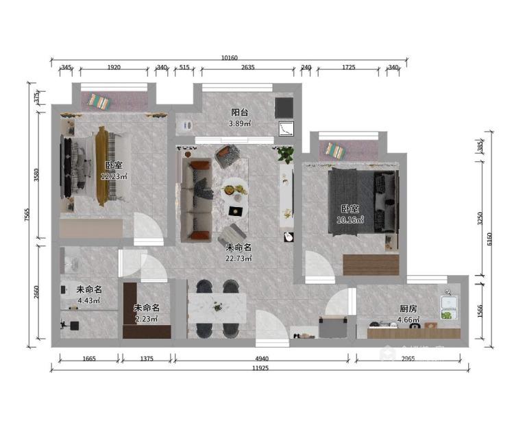 90平保利拉菲北欧风格-平面设计图及设计说明