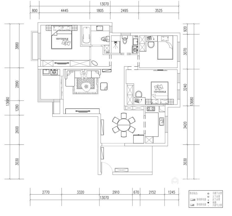 130平威尼斯水城现代风格-平面设计图及设计说明