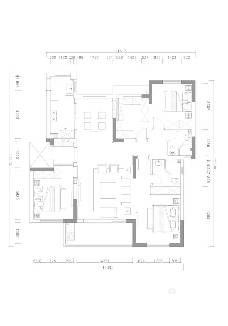 140平明贵园现代风格-平面设计图及设计说明