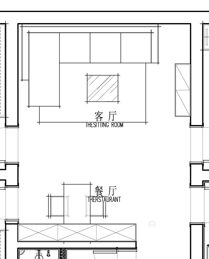100平中心医院家属院简美风格-美宅一生-餐厅效果图及设计说明