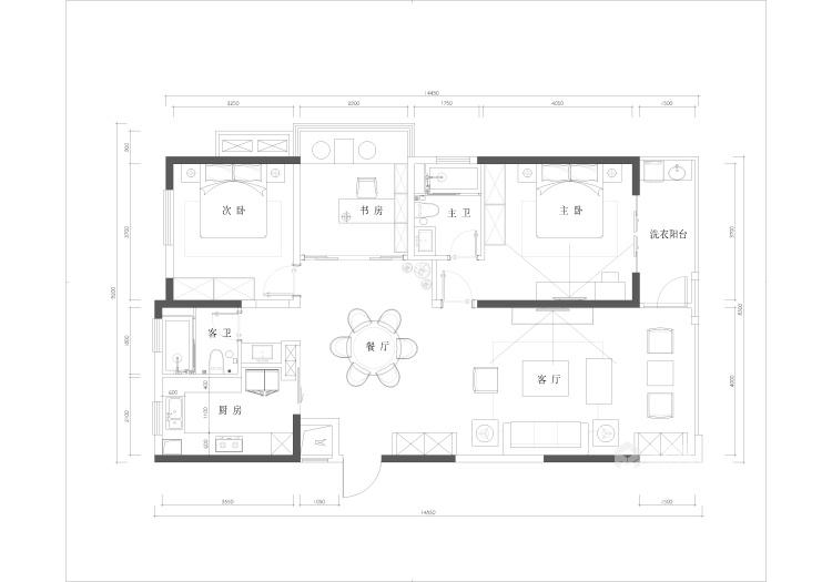 143平国美华府中式风格-平面设计图及设计说明