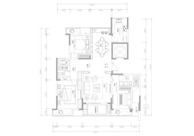 140平海岸城中式风格-平面设计图及设计说明