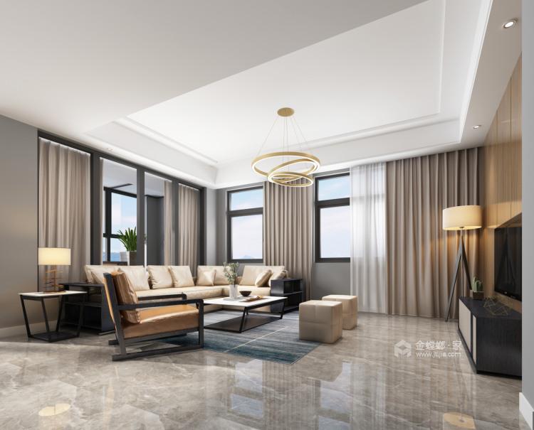 201平虹锦湾现代风格-静谧-客厅效果图及设计说明