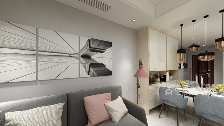 90平海棠湾现代风格-简约时尚-客厅效果图及设计说明