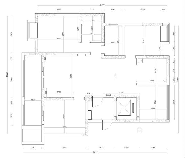 126平复地御钟山美式风格三居-业主需求&原始结构图