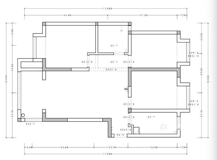 106平融侨观邸简美风格两居-业主需求&原始结构图