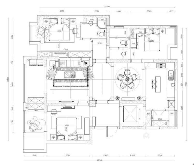 126平复地御钟山美式风格三居-平面设计图及设计说明