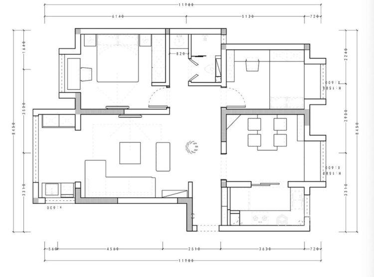 106平融侨观邸简美风格两居-平面设计图及设计说明