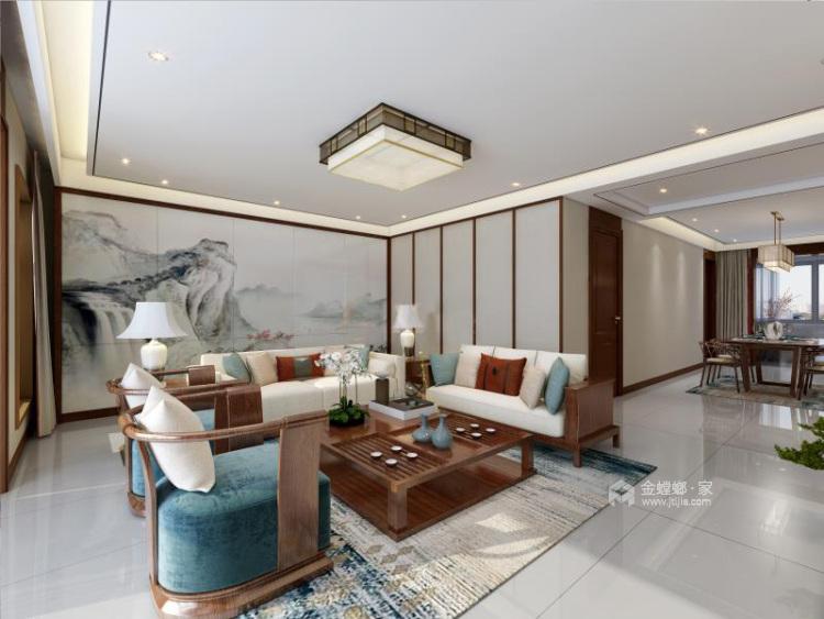 130平唐延九郡新中式风格-客厅效果图及设计说明