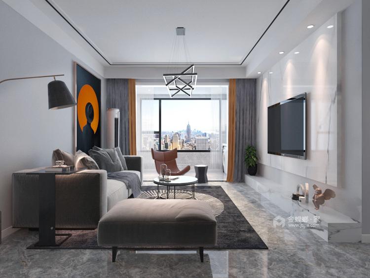 123平海河湾现代风格-客厅效果图及设计说明