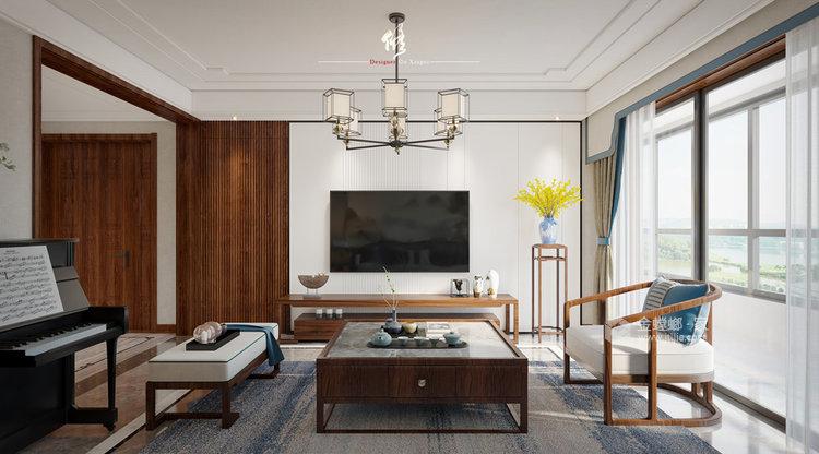 140平中治锦绣华府新中式风格四居-客厅效果图及设计说明