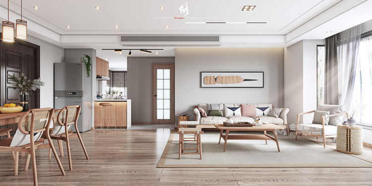 120平陽光公寓日式風格-客廳效果圖及設計說明