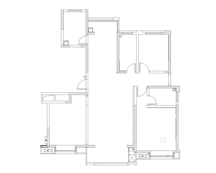 130平唐延九郡新中式风格-业主需求&原始结构图