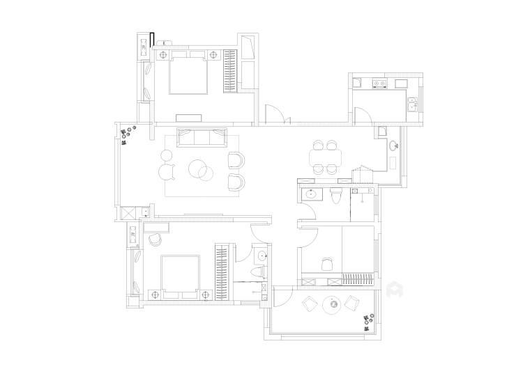 130平唐延九郡新中式风格-平面设计图及设计说明