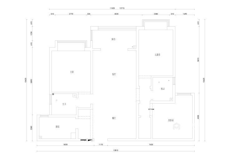 123平海河湾现代风格-业主需求&原始结构图