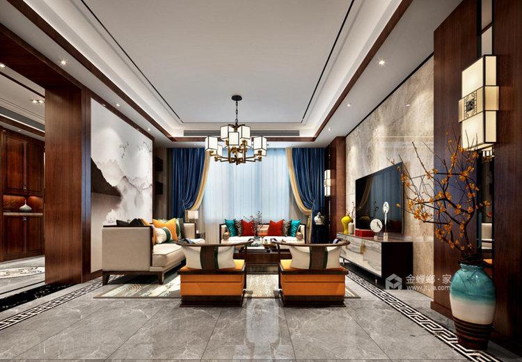 260平世纪天城新中式风格别墅-客厅效果图及设计说明