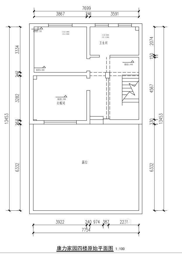 400平康力家园新中式风格-业主需求&原始结构图