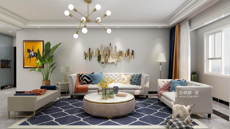 139平中央豪庭柿园简美风格-客厅效果图及设计说明