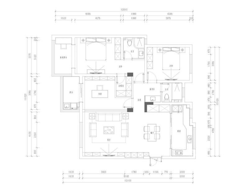 130平仙龙湾山庄现代风格四居-平面设计图及设计说明