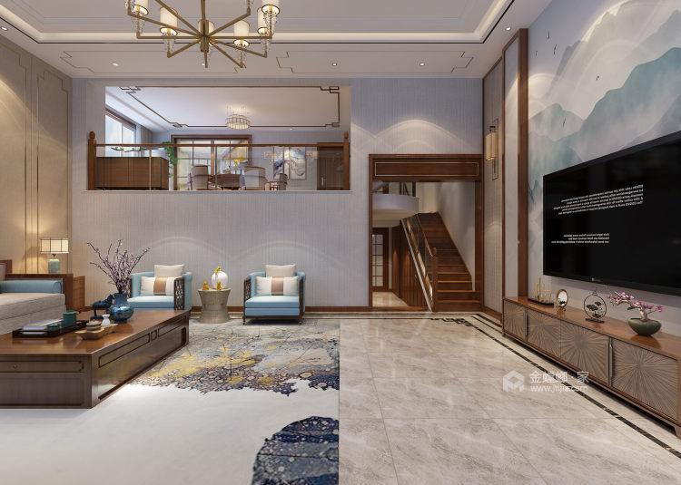 400平康力家园新中式风格-客厅效果图及设计说明