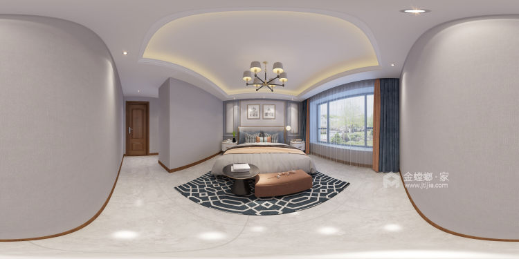170平富力盛悦府简美风格-卧室效果图及设计说明