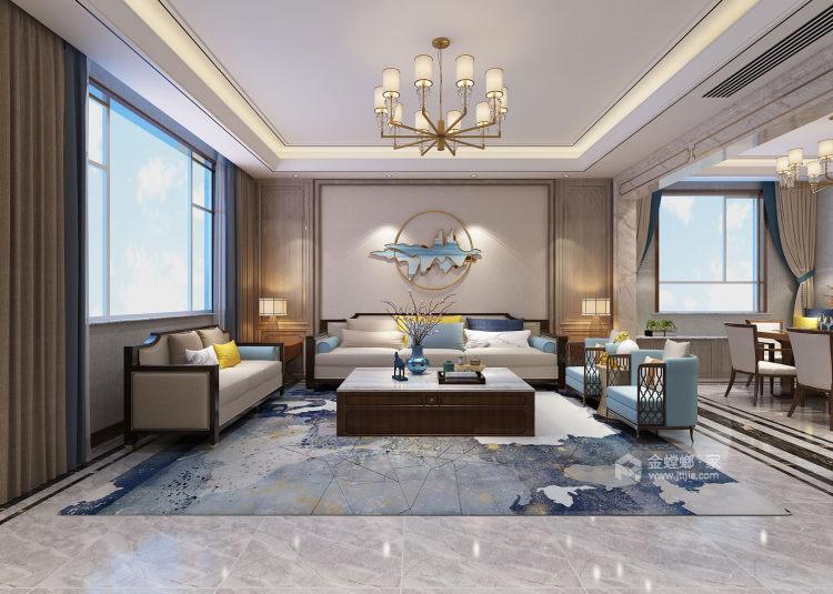 360平水城庄园新中式风格-客厅效果图及设计说明