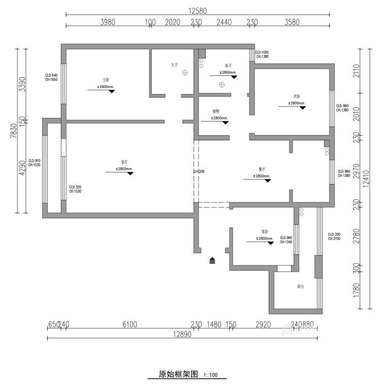 139平中央豪庭柿园简美风格-业主需求&原始结构图