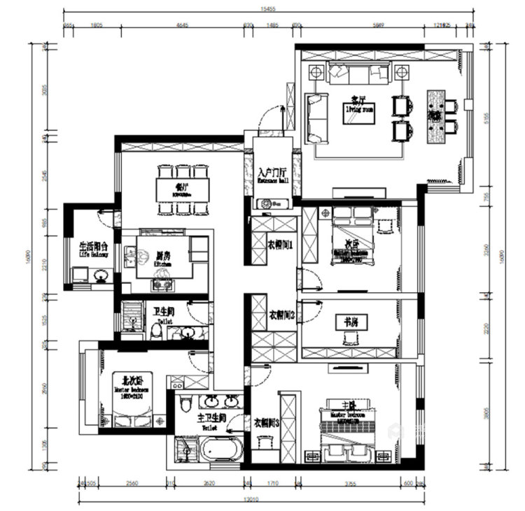 180平世茂外滩新城新中式风格四居-平面设计图及设计说明
