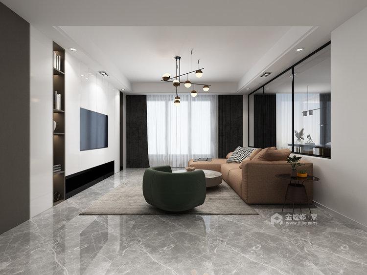 130平仙龙湾山庄现代风格四居-客厅效果图及设计说明