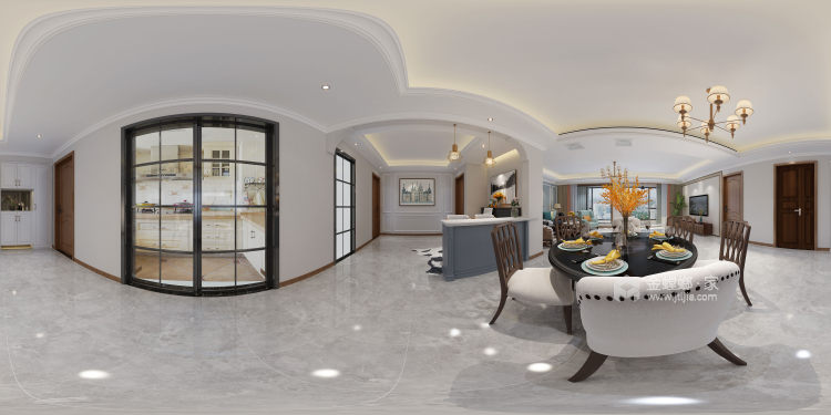 170平富力盛悦府简美风格-餐厅效果图及设计说明