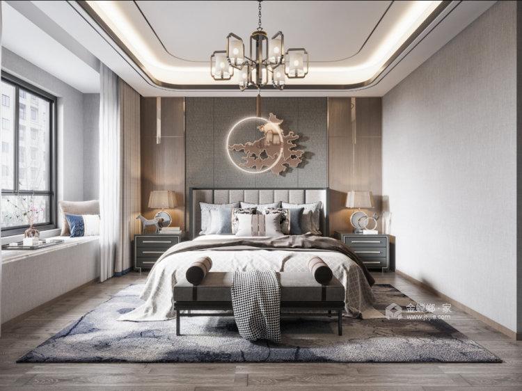 180平世茂外滩新城新中式风格四居-卧室效果图及设计说明