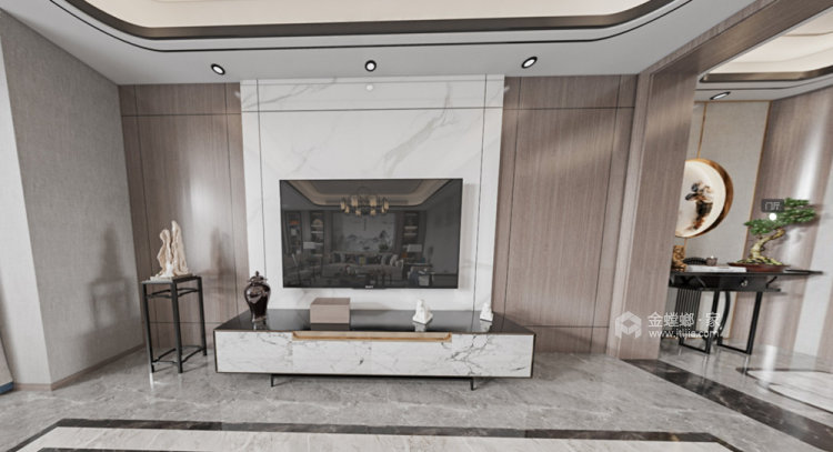 180平世茂外滩新城新中式风格四居-客厅效果图及设计说明