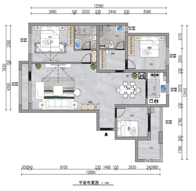 139平中央豪庭柿园简美风格-平面设计图及设计说明