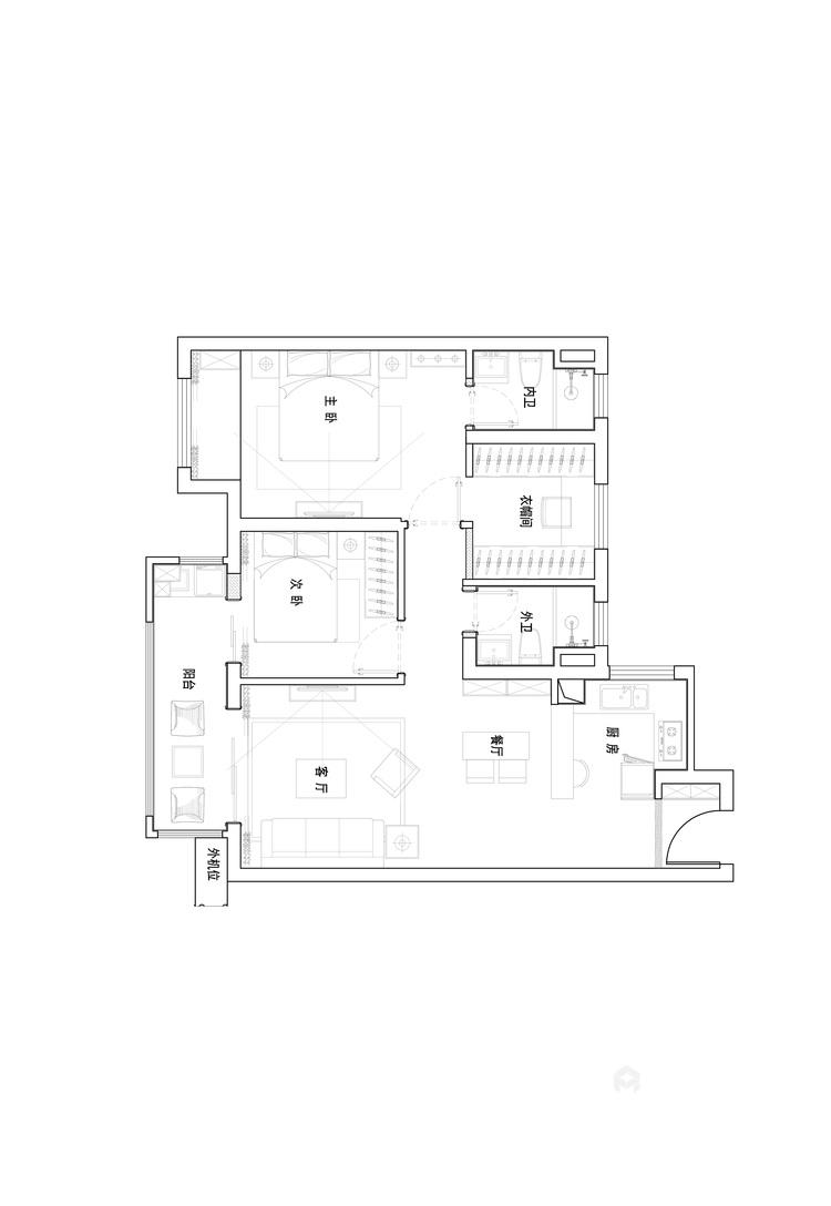 89平雍华府北欧风格-充满摩登感-平面设计图及设计说明