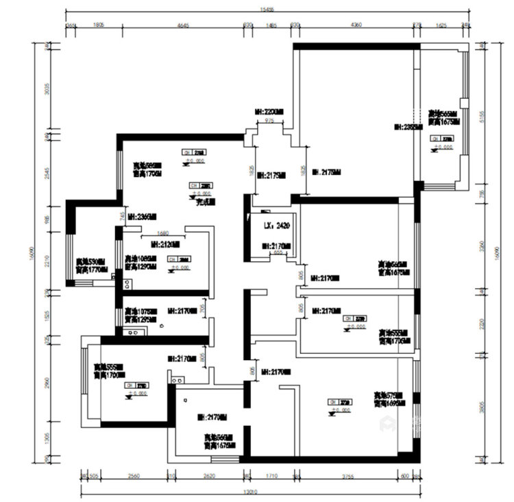 180平世茂外滩新城新中式风格四居-业主需求&原始结构图