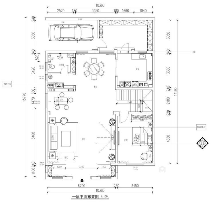 300平白金瀚宫中式风格-平面设计图及设计说明