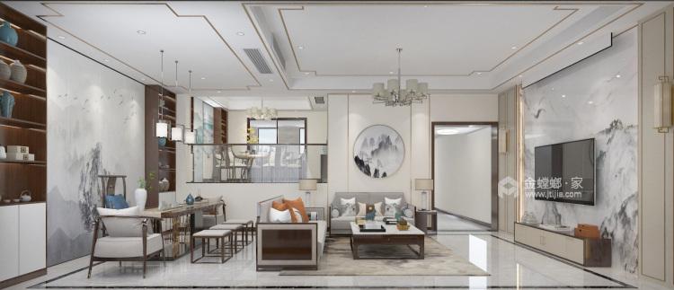380平春秋意墅新中式风格-别墅,演绎东方极致美学!-客厅效果图及设计说明