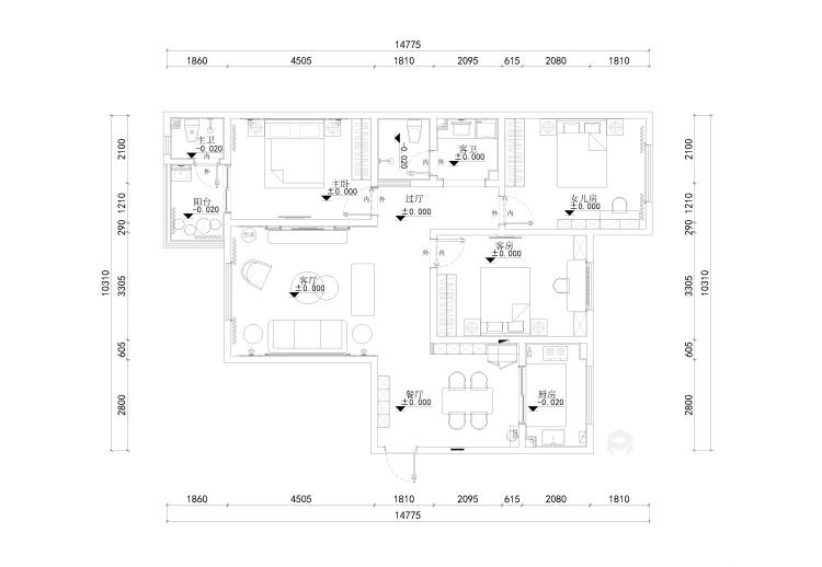 143平团结园简欧风格-平面设计图及设计说明