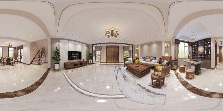 300平白金瀚宫美式风格-客厅效果图及设计说明