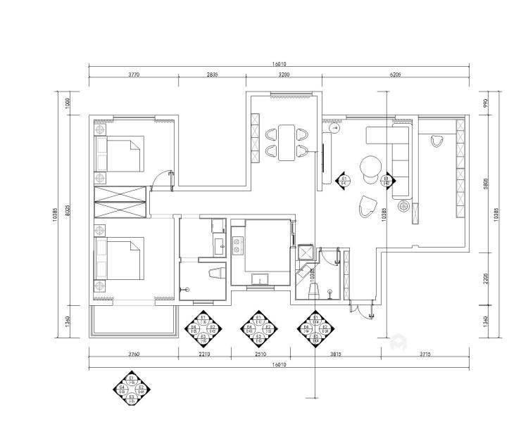125平东岭国际现代风格-平面设计图及设计说明